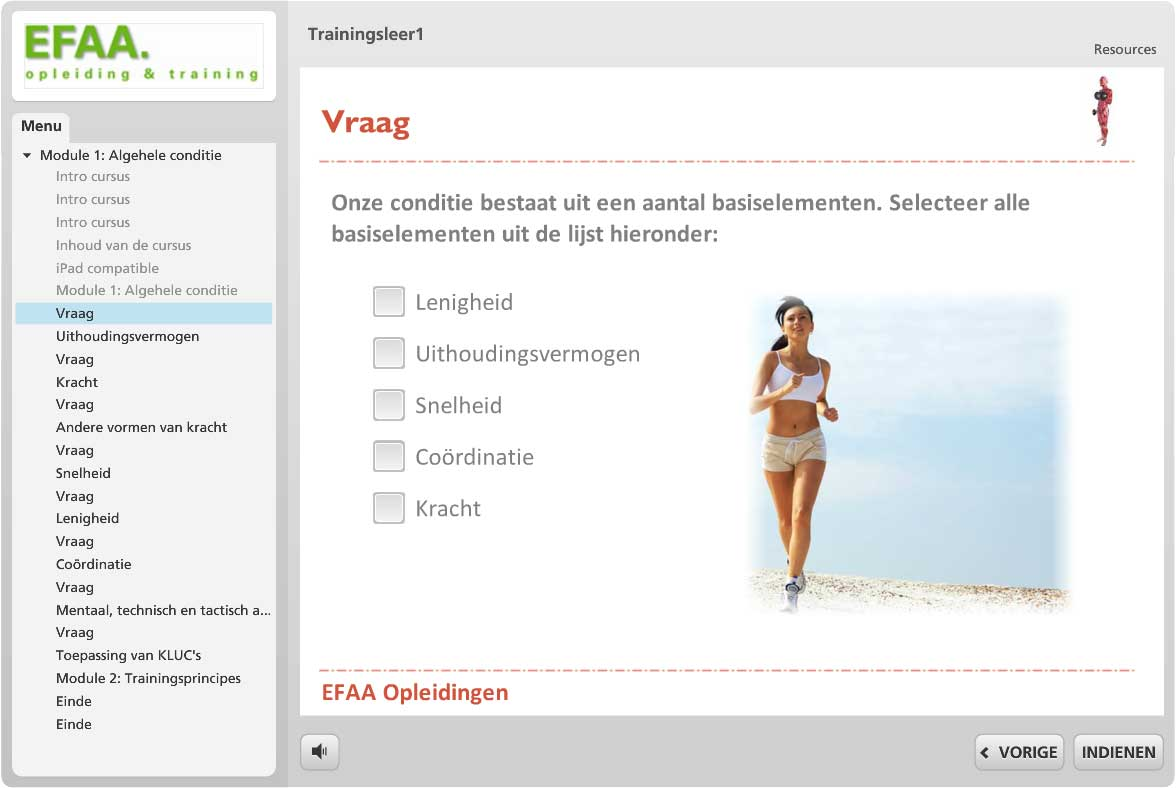 Fitness e-learning  voorbeeld